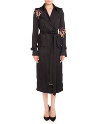 Victoria Beckham Floral Embroidered Double Breasted Trenchcoat Black Orchid Multi Pattern