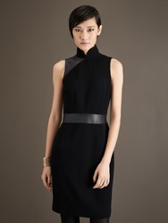 Shanghai Tang Panel Leather And Wool Blend Mandarin Collar Dress Black