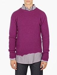 Raf Simons Purple Distressed Wool Sweater