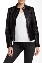 7 For All Mankind Genuine Leather Jacket Black