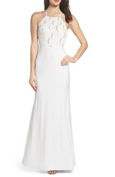 Sequin Hearts 'S Ruffle Back Lace Gown Ivory Nude