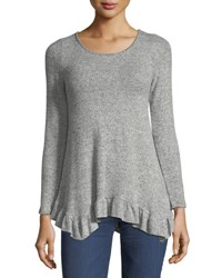 Casual Couture Soft Knit Ruffle Hem Sweater Gray