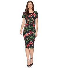 Unique Vintage Mod Wiggle Dress Black Red Floral Multi