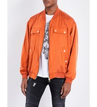 Balmain Cutting Silk Satin Bomber Jacket Copper