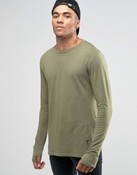 Religion Long Sleeve T Shirt With Stepped Front Khaki Green