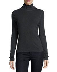 Three Dots Topstitched Cotton Turtleneck Charcoal