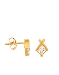 Lord And Taylor 18Kt Yellow Gold Over Sterling Silver Princess Cubic Zirconia Earrings