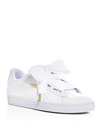 Puma Basket Patent Leather Lace Up Sneakers White