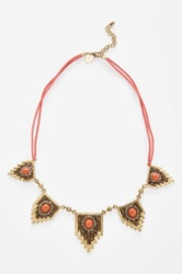 Berry 'Egyptian' Beaded Statement Necklace Orange