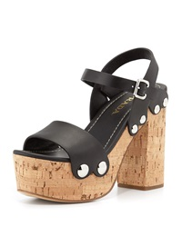 Prada Riveted Platform Clog Sandal Black Nero