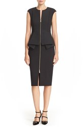 Ted Baker Women's London 'Jumana' Textured Peplum Zip Front Sheath Dress
