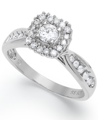 Macy's Certified Round Cut Engagement Ring In Sterling Silver 1 2 Ct. T.W.