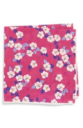 Southern Tide Hanatei Hibiscus Cotton And Silk Pocket Square Pink