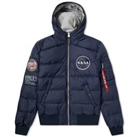Alpha Industries Apollo 11 Hooded Puffer Jacket Blue