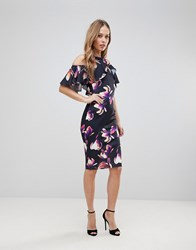 Jessica Wright Floral Cold Shoulder Pencil Dress Multi
