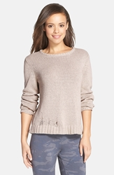 Monrow Distressed Sweater Natural