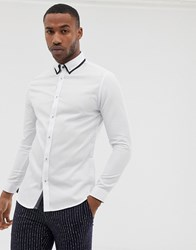 River Island Double Collar Shirt In White