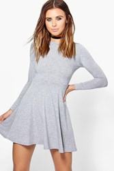 Boohoo Harriet Basic Long Sleeve Skater Dress Grey