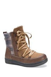 Muk Luks Shayla Lace Up Faux Fur Lined Boot Brown