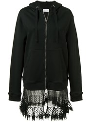 Red Valentino Sheer Panel Zipped Hoodie Black