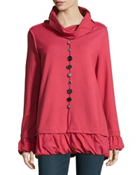 Neon Buddha Long Sleeve Embellished Pullover Red Current