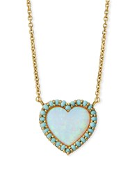 Tai Mini Heart Glass Opal Pendant Necklace Gold