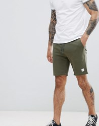 Only And Sons Jersey Raw Hem Shorts Olive Night Green