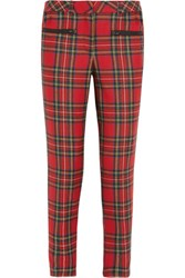 Karl Lagerfeld Macpherson Tartan Wool And Faux Leather Pants Red