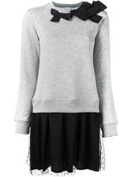 Red Valentino Flared Sweater Dress Grey