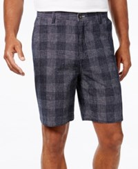 Geoffrey Beene Men's Classic Fit Lightweight Plaid Shorts Navy