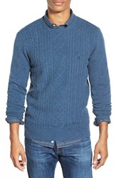 Men's Original Penguin Cable Knit Crewneck Sweater Dark Denim