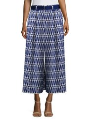 Issey Miyake Cropped Patterned Pants Blue White