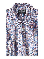 New And Lingwood Hayward Floral On Stripe Print Shirt Blue
