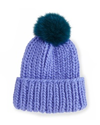 Eugenia Kim Rain Hat With Fur Pom Pom Periwinkle Teal