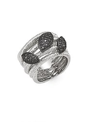 Effy Black Diamond Pave And Sterling Silver Ring