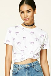 Forever 21 Unicorn Print Tee White Pink