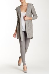 Lilla P Marled Slub Hooded Duster Brown