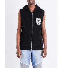 Balmain Sleeveless Zip Up Cotton Jersey Gilet Black
