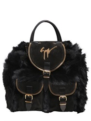 Giuseppe Zanotti Faux Fur Backpack With Suede Details