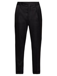 Saint Laurent Tailored High Rise Wool Twill Trousers Black