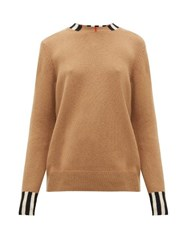 Burberry Eyre Icon Striped Cashmere Sweater Beige