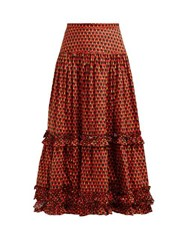 La Doublej Salsa Geometric Print Tiered Cotton Midi Skirt Red Print