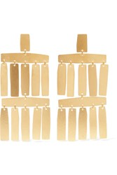 Annie Costello Brown Roma Gold Tone Earrings One Size Gbp