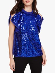 Damsel In A Dress Tally Sequin Blouse Blue