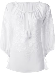 P.A.R.O.S.H. Floral Embroidery Top White