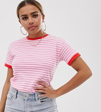 Noisy May Petite Stripe Long Sleeve T White