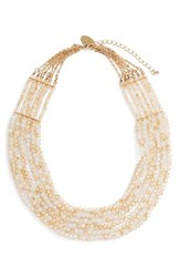 Natasha Couture Women's Beaded Multistrand Statement Necklace Tan
