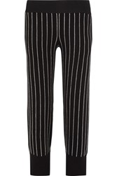 Opening Ceremony Pinstriped Cotton Blend Wide Leg Pants Black