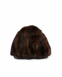 Inverni Fur And Cashmere Beanie Hat Brown