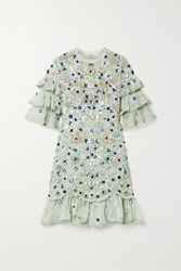 Needle And Thread Meadow Ruffled Crochet Trimmed Sequined Tulle Mini Dress Mint